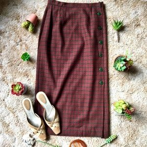 {Vintage} 100% Pure Wool Button Front Maxi Skirt